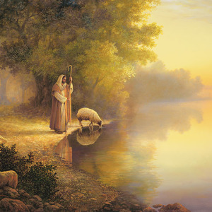 Greg Olsen, Christian art, Framed religious art, Prints, Lithographs, Canvas, Giclee, Canvas wrap, Christian canvas prints, Christian framed art, Jesus artwork, Jesus prints, Savior, Lord, Redeemer, Christ, Jesus Christ, Son of God, religious art, christian artist, Jesus, the Good Shepherd, leading a sheep to still waters, sheep, lost sheep, good shepherd, leads sheep, guiding sheep, with lamb, lamb, drinking, lead to water, lord is my shepherd,